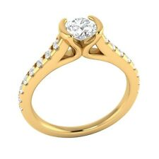 0.80ct Real White Sapphire & Authentic Diamond Solid Yellow Gold Engagement Ring