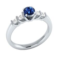0.72 ct Natural Blue Sapphire & Authentic Diamond White Gold Engagement Ring