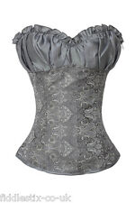 Sexy Grey Floral Satin Overbust Corset Lingerie Basque Bustiere Size 8 - 22