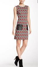 Nine West Deco Print Ponte Shift Dress Womens sz 2  Sleeveless Faux Leather Trim