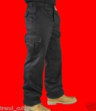 "x2 Pairs MENS CARGO COMBAT WORK COLLEGE LEISURE TROUSERS BLACK & NAVY 28""- 52"""