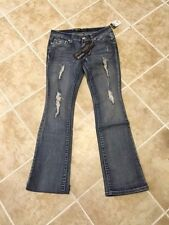 NWT Women Rue 21 Premiere distressed rhinestone boot cut stylish blue  jean Cute