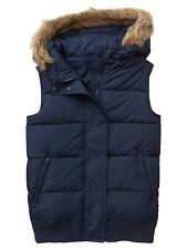 NWT Gap Women's Faux Fur Trim Hooded Puffer Vest Navy Blue Size S