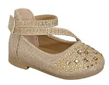 New Girl Glitter Rhinestone Studded 2 Strap Flats Dress Shoes /  Infant - Girls