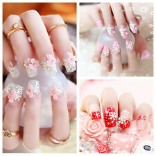 New Fashion 24pcs 3D Bride Wedding False Artificial Fake Nails Tips French
