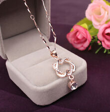Fashion Pendant Women Necklace Heart Chain Jewelry Gold /Silver Plated Double