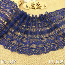 1y/5yard Navy blue Sewing Embroidery Stretch Lace Fabric Trim Tulle L2984