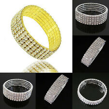 5 Rows Stylish Clear Wedding Bridal Crystal Rhinestone Stretch Bracelet Jewelry