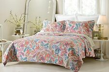 Luxury and Chic Paisley Print Quilted Coverlet Set AND Pilow Shams - ALL SIZES
