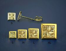 14K Yellow or White Gold Fancy Square CZ Stud Earring