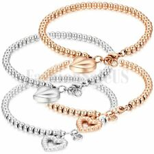 Gold and Silver Tone Stainless Steel Heart Pendant Beads Bracelet Ball Chain