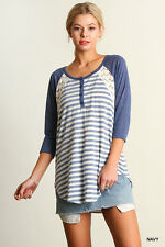 Umgee Top Tee Shirt  Blouse Size S M L NAVY BLUE Baseball Lace Striped Tunic