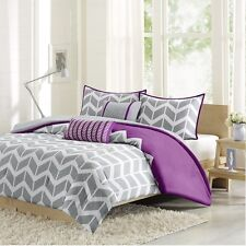 Modern Purple & White Chevron Comforter with Pillow Shams AND Decorative Pillows