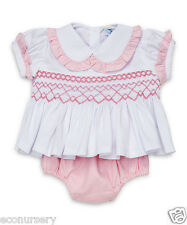 AURORA ROYAL 'ROSETTA' BABY GIRLS HAND SMOCKED PINK & WHITE BUSTER SUIT(2 PIECE)