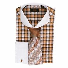 Dress Shirt by SL* Final Sale* Cutaway Collar French Cuffs-Orange-DS1571-OR