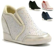 WOMENS LADIES DIAMANTE HEEL WEDGE SNEAKERS FLAT ANKLE BOOTS SHOES TRAINERS SIZE