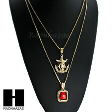 "ICED OUT RED RUBY Jesus Anchor PENDANT 24"" 30"" BOX CHAIN NECKLACE COMBO SET S044"