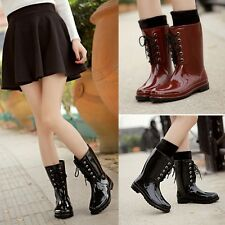 Fashion Womens Waterproof Rubber Rain Boots Wellies Ski Shoes Mid-Calf boots