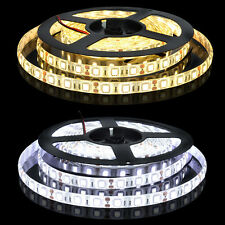 5050 5M White 300 SMD LED Flexible Strip Light Waterproof 12V DC Power Adapter