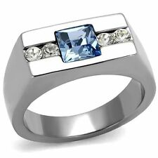 Men's Princess Cut Blue Montana & Clear Cz Silver Stainless Steel Ring Band Size