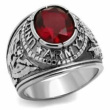 Men's Stainless Steel 316 Siam Red United States Us Army Military Ring Size 8-14