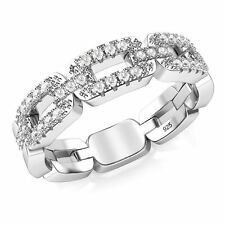 925 Sterling Silver Cubic Zirconia Chain Link CZ Band Ring