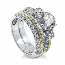 Gold Plated Sterling Silver 3.62 ct.tw Cubic Zirconia CZ Wedding Bridal Ring Se