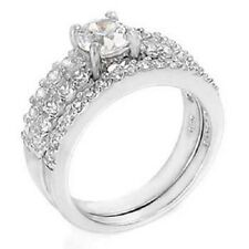 Sterling Silver Round Cz Ring Set with a Round Cut Cz in the Center, Ring W 149