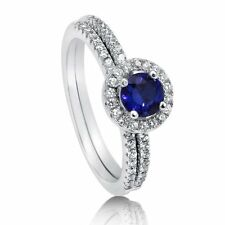 Sterling Silver Round Simulated Blue Sapphire Cubic Zirconia CZ Halo Engagement