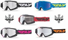 New 2016 Fly Racing Zone Youth MX ATV Goggles Chrome Smoke Lens / Blue Chrome