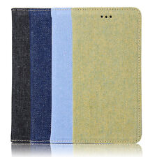 Denim Jeans Cloth Automatically Pull Card Protect Case Skin For iPhone 6 6s Plus