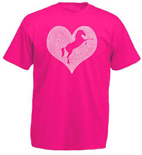 Girls Diamante Horse in Heart Bling T-Shirt Slim Fit top or Unisex fit. age 3-13