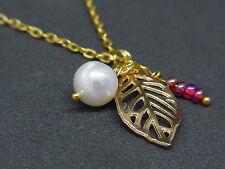 Handmade Women Girl's Fresh Water Pearl Leaf Charm Gold Plated Chain Necklace