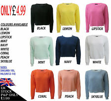 NEW WOMENS LADIES SHORT CROP TOP LONG SLEEVE JUMPER SIZES 8-14 SUMMER SALE