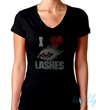 "Women's  T-shirts rhinestones Iron on  PATCH  ""I LOVE LASHES"" Small to 3XL"