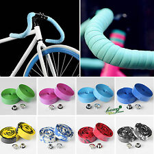 2 x Road Bike Bicycle Cycle Handle Handlebar Grip Bar Tape Wrap + 2 x Bar Plugs