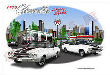 1970 Chevelle Muscle Car Art Print - White