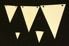 GARDEN PARTY TRIANGLE BUNTING Wood OR Sticker Card Blank Craft Shapes 1cm-15cm