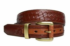 TB798- Toneka Men's woven stitched leather belt with braided brass buckle set