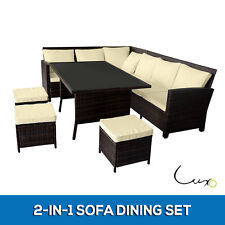 NEW 2-in-1 Wicker Outdoor Sofa Dining Set Garden Table Chair Setting Black Brown