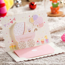 Pink Baby Shower Invitation Girl Birthday Bear Card with Envelope, Sticker