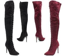 WOMENS LADIES OVER THE KNEE THIGH HIGH BOOTS LACE UP STILETTO HEEL SHOES BOOTS