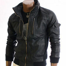 Mens Leather Jacket Black Slim fit Biker Motorcycle Genuine Leather Jacket MJ535