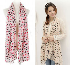 New Womens Lady Chiffon Silk Soft Long Heart Scarf Shawl Scarves Stoles Wraps X