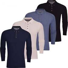 Mens High Quality Plain 'Long Sleeved' Cotton Pique Polo T-Shirt Collared Top