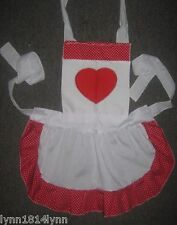 GIRLS 1-12 YEARS QUEEN OF HEARTS COSTUME APRON Made to order Many colors