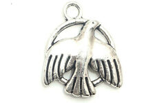 6/60PCS Tibetan silver Craft Jewelry Making Peace Doves Necklace Charms Pendants