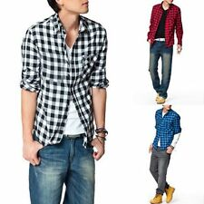 Mens Boys New Trendy Fashion Stylish Slim Fit Casual & Dress Plaid Check Shirt