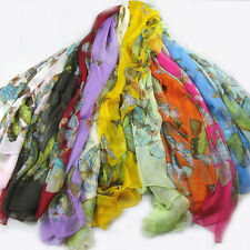 Fashion women Oblong Neck 100%Silk Scarf Warp Butterfly shawl stole wholesale