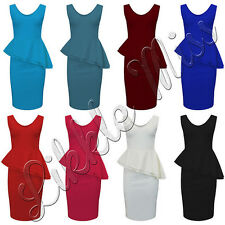 Womens Sleeveless Side Slant Frill Front Peplum Ladies Long Bodycon Dress 8-22